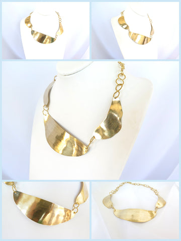 unique handmade metal jewelry, asymmetrical necklace, brushed gold necklace