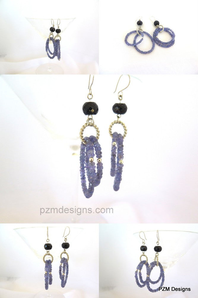 Tanzanite and sapphire hoop earrings set in solid silver - PZM Designs
