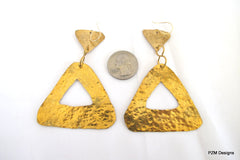 Large Hammered Triangle Earrings, Gold Brass Earrings - PZM Designs