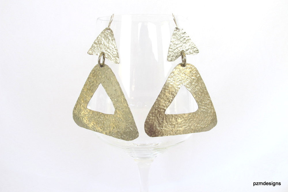 Silver geometric earrings, large hammered metal triangle earrings, trendy modern tribal earrings - PZM Designs