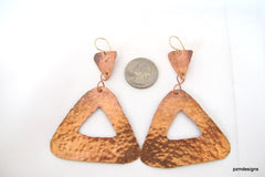 Long triangle earrings handmade from hammered copper - PZM Designs