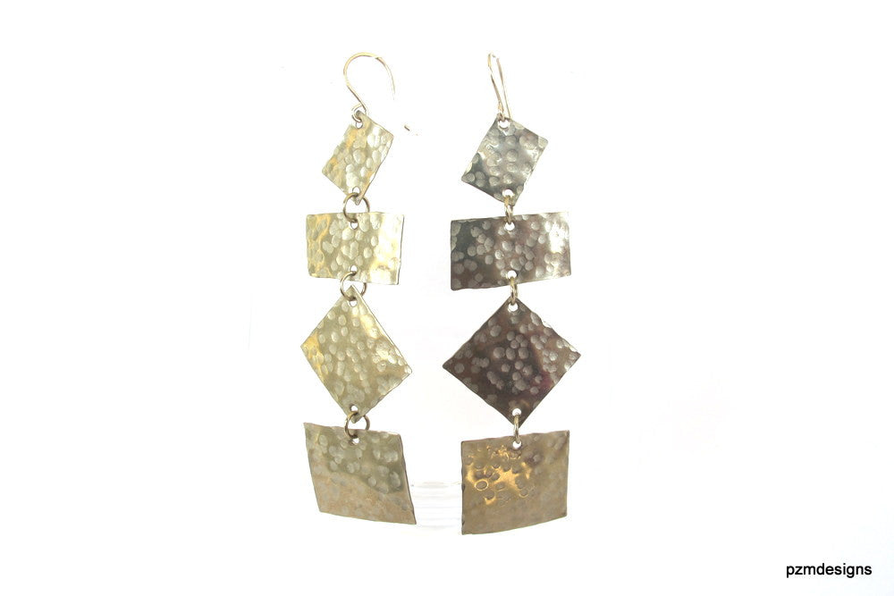 Hammered silver geometric earrings, long modern tribal earrings, gift under 40 - PZM Designs
