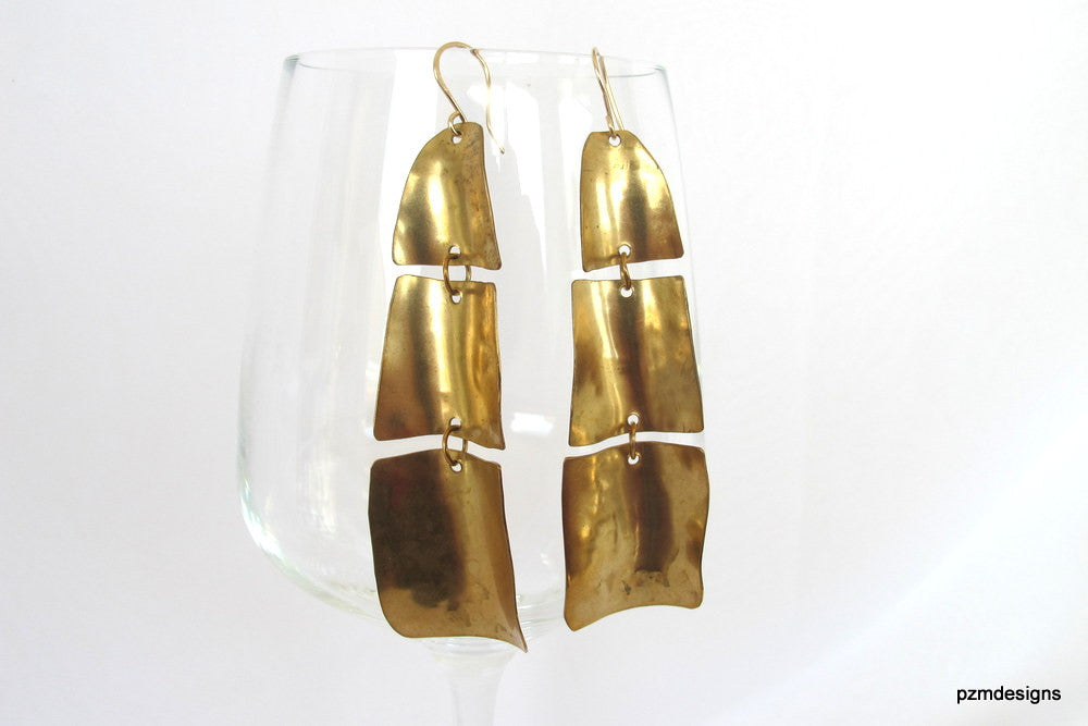 Gold drop earrings, hand forged gold brass waterfall earrings, long dangle earrings - PZM Designs