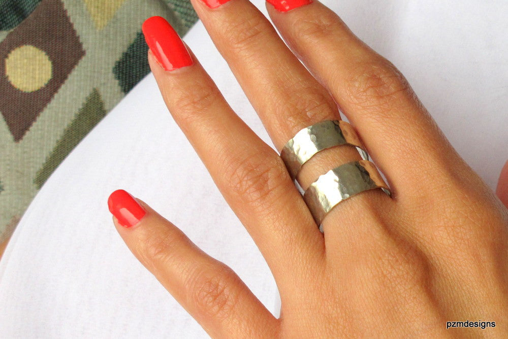 Silver double band ring, hand hammered jewelry gift - PZM Designs