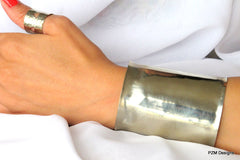 Wide Silver Cuff with Shiny Finish, Gift for Her