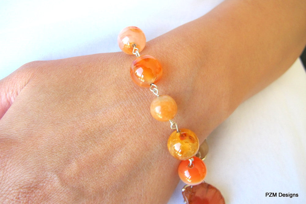 Fire Agate Gemstone Bracelet, Orange Gemstone Stacking Bracelet - PZM Designs