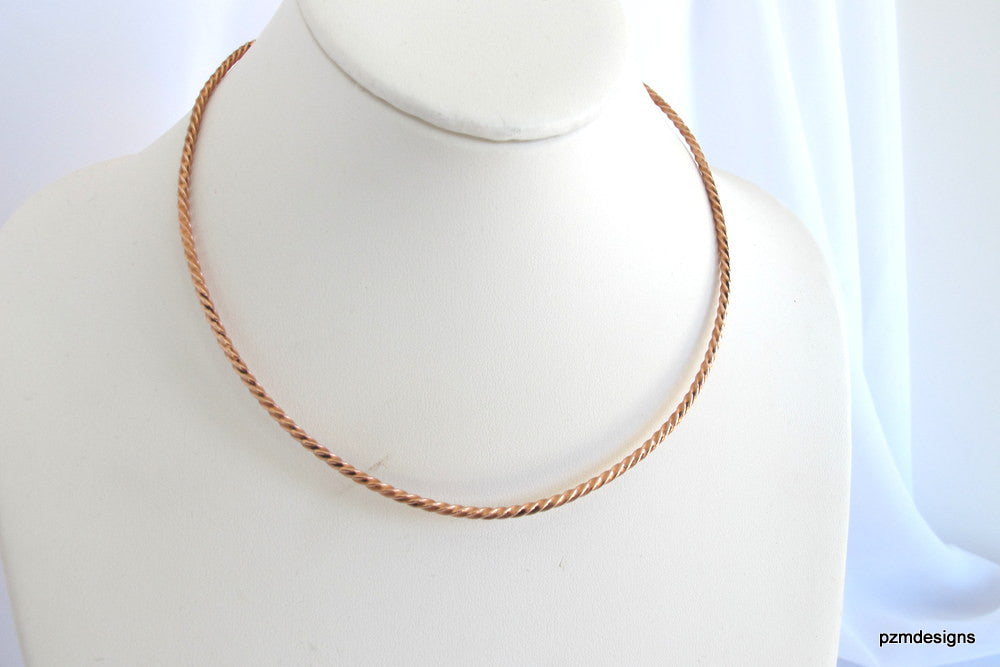 Twisted copper choker, hammered tribal pendant slide, artisan copper necklace - PZM Designs