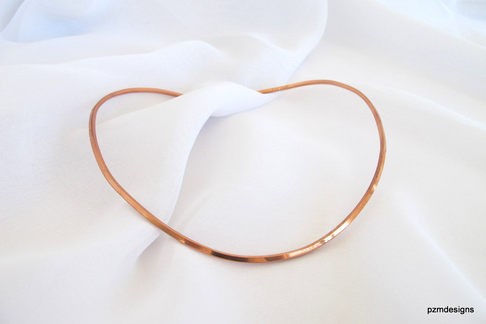 Square Copper Neck Wire, hammered copper pendant slide, hand crafted copper choker - PZM Designs