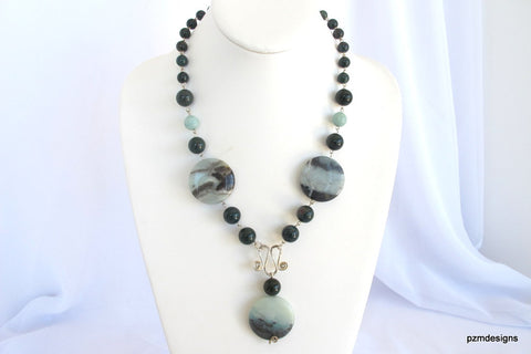 Bloodstone and Amazonite Gemstone Necklace, Genuine Gemstones