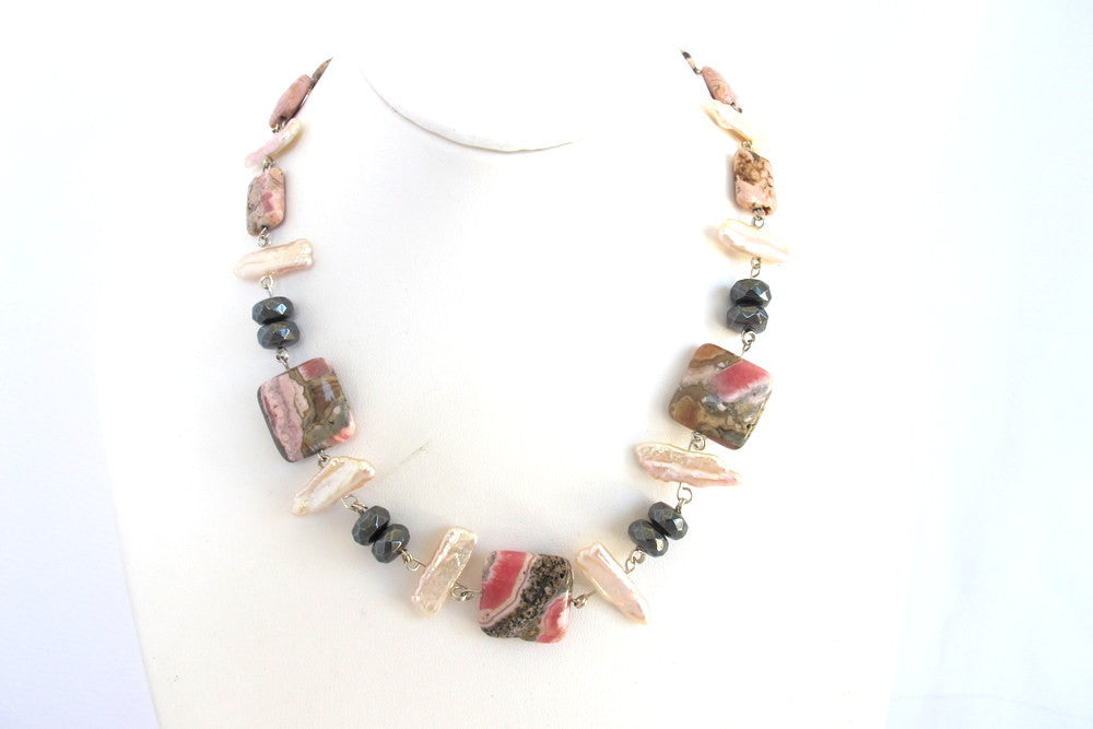 Rhodochrosite and Hematite Necklace with Biwa Pearls - PZM Designs