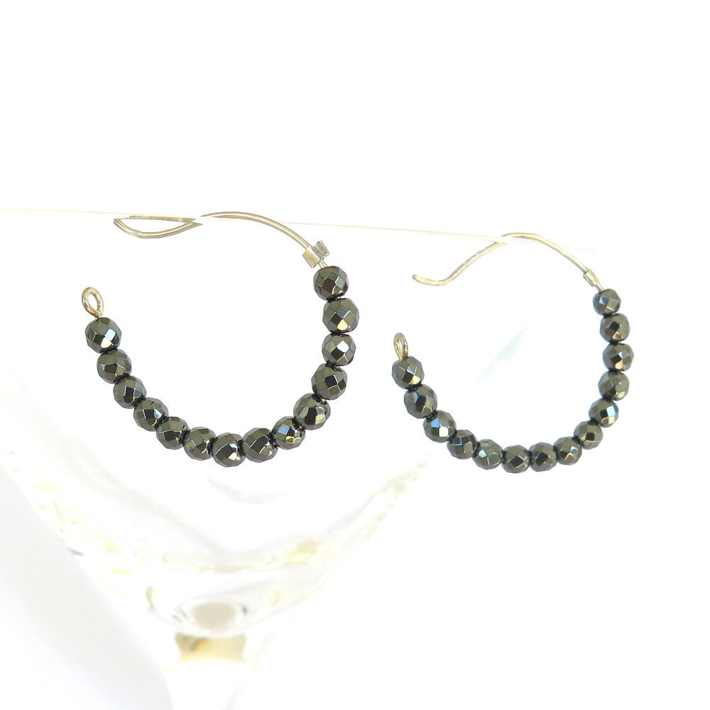 Hematite hoop earrings, gun metal gemstone earrings
