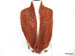 Orange Chunky Crochet Infinity Scarf