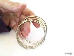 Thin open bangle set of 5, hand hammered tribal cuff bracelets, modern tribal bangles - PZM Designs