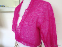 Hot Pink Silk Mohair Cropped Hand Knit Jacket Sweater - PZM Designs