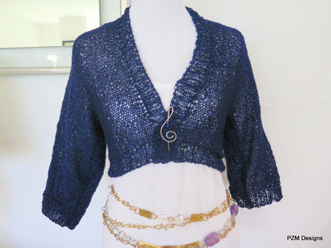 Navy blue cropped sweater, sparkly hand knit bolero cardigan