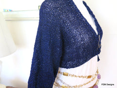 Navy blue cropped sweater, sparkly hand knit bolero cardigan - PZM Designs