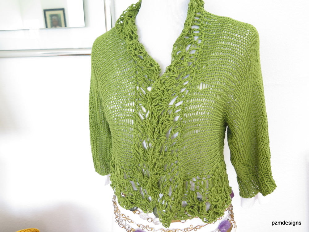 Green Bamboo Hand Knit Shrug gift for her