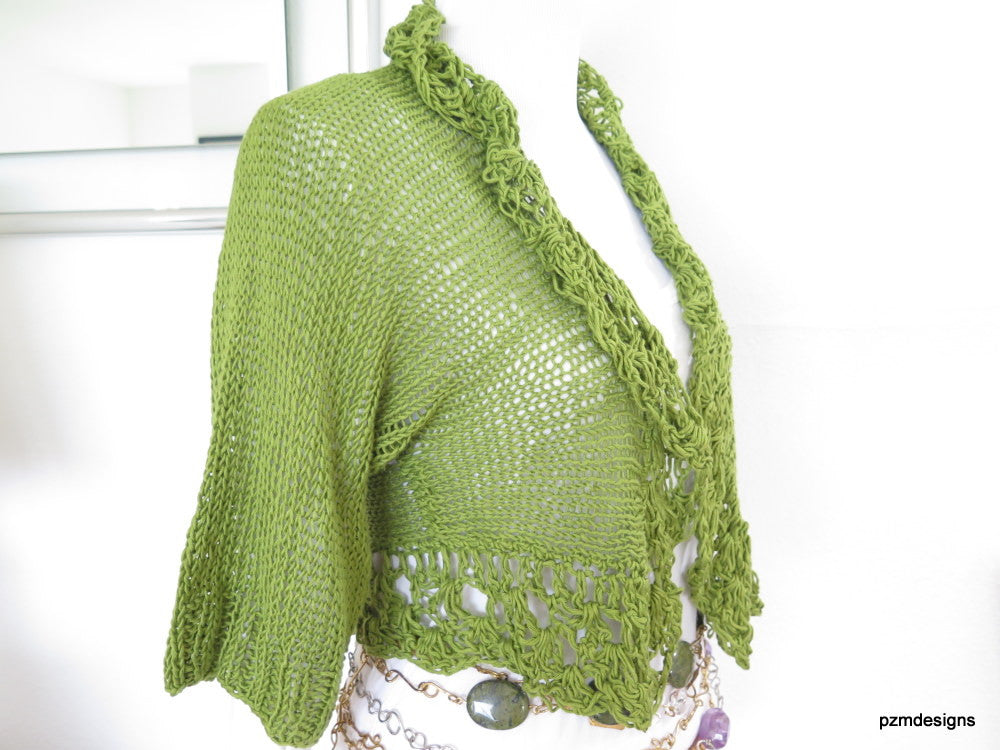 Green Bamboo Hand Knit Shrug gift for her - PZM Designs