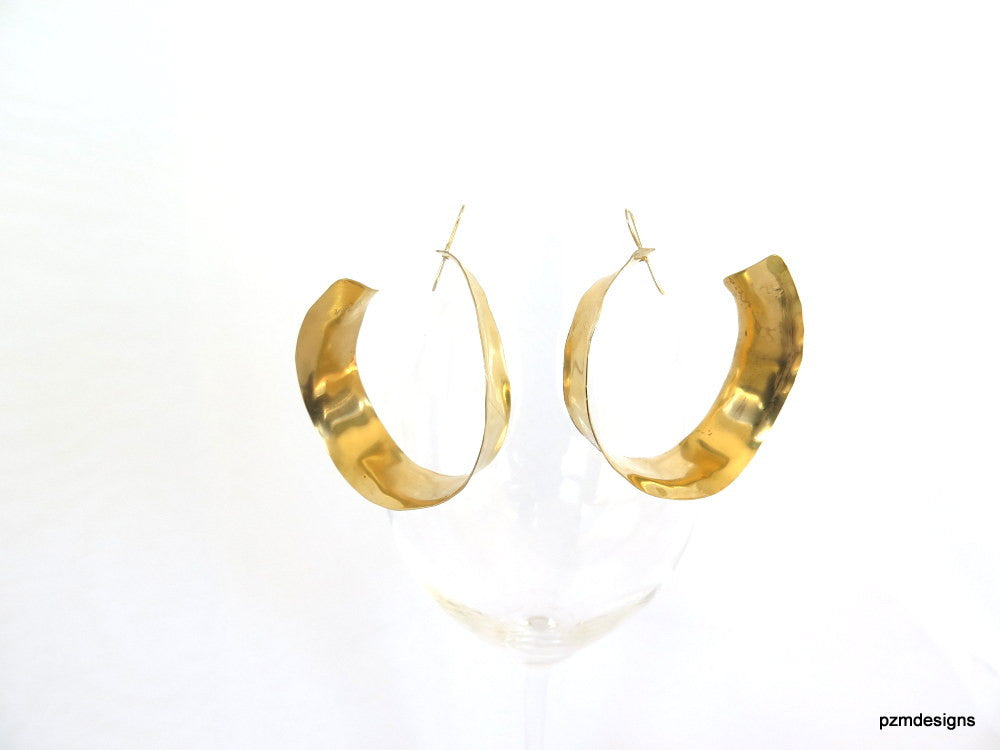 Gold inside outside hoops, large brass hammered hoop earrings, - PZM Designs