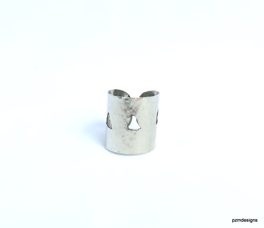 Silver Adjustable Thumb Ring, hammered silver wide cigar band ring - PZM Designs