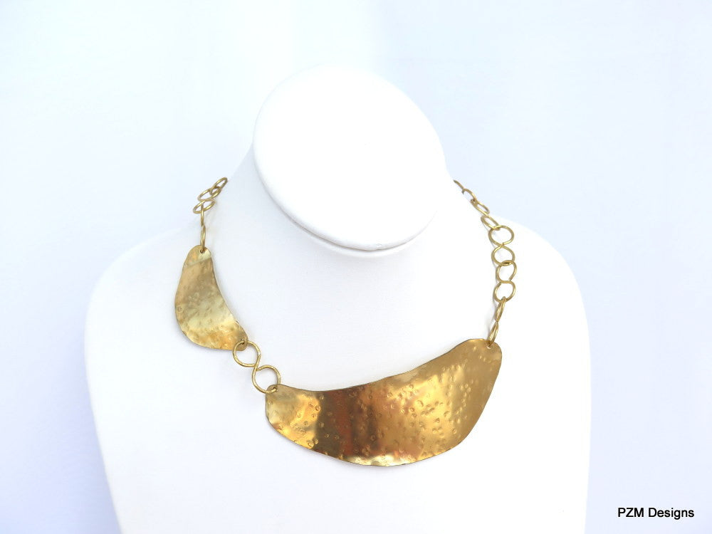 Gold Hammered Brass Collar, Artisan Asymmetric Neck Piece - PZM Designs