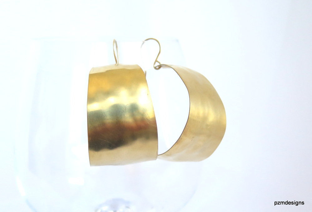 Wide J hoop earrings, Hand crafted large gold hoop earrings, modern tribal brass jewelry - PZM Designs