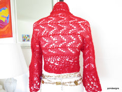 Red Mohair Shrug, lacy hand knit mohair sweater with crochet edges, luxury acrylic mohair jacket - PZM Designs