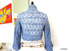 Blue Grey Lace Shrug - PZM Designs