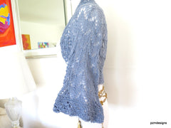 Blue grey sweater, handknit shrug with belled sleeves, luxury knitwear