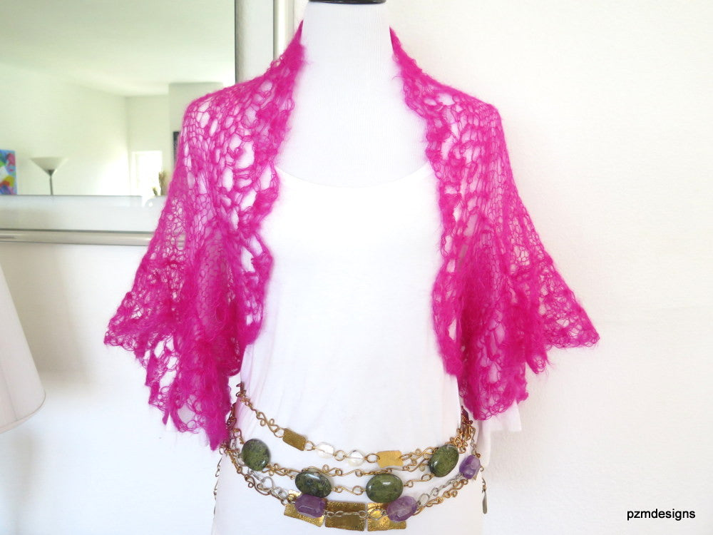 Hot Pink Silk Shrug, Handknit lacy mohair sweater shrug, luxury fashion knitwear
