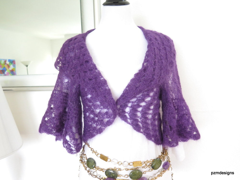 Purple silk mohair sweater shrug, hand knit lacy cardigan, luxury knitwear, bridal shrug - PZM Designs