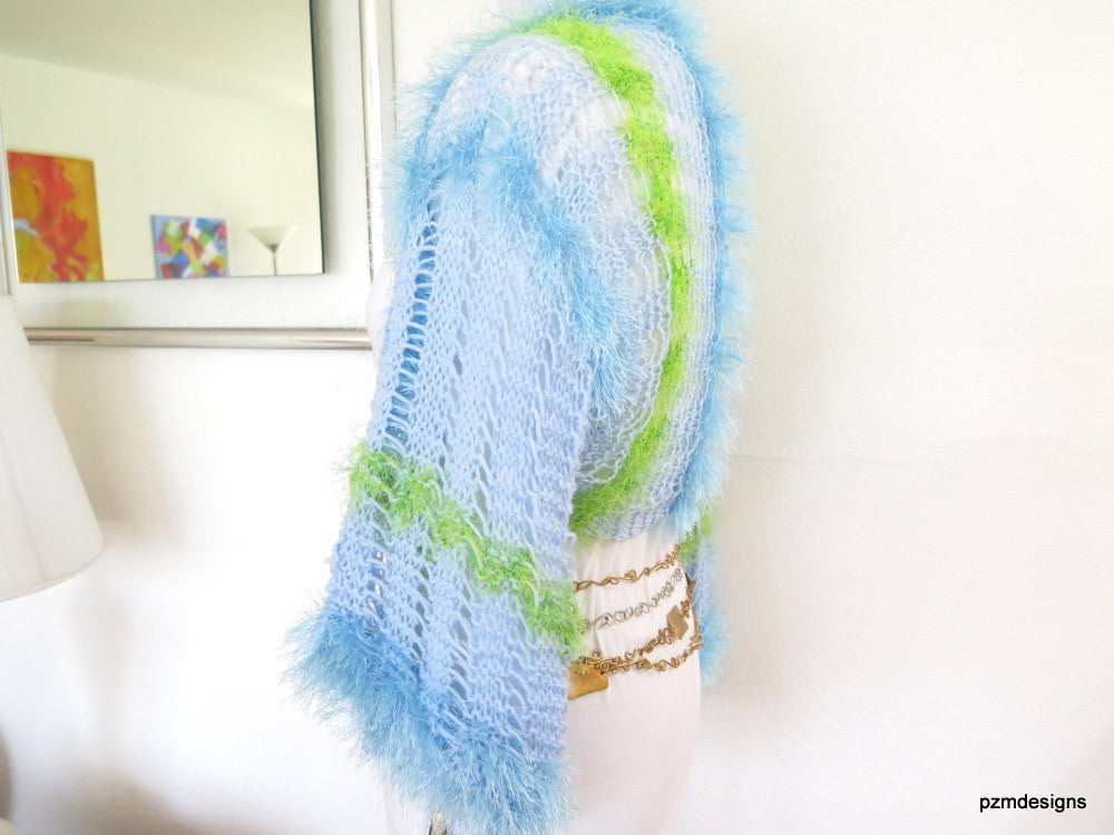 Light Blue Summer Shrug, Lacy Knit Sweater Shrug, Gift for Teens - PZM Designs