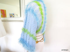 Light Blue Summer Shrug, Lacy Knit Sweater Shrug, Gift for Teens