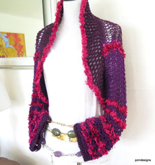 Plum Knit Shrug, Lacy Knit Sweater Shrug, Gift for Her