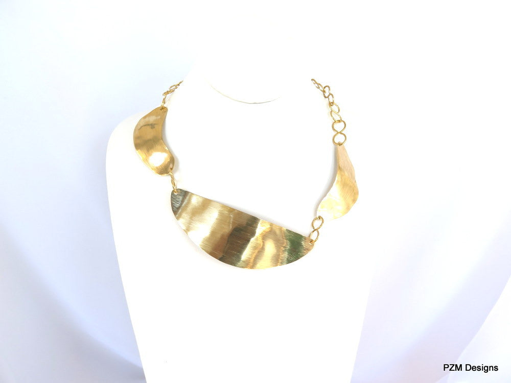 Brushed Gold Necklace,  Modern Asymmetrical Brass Collar - PZM Designs