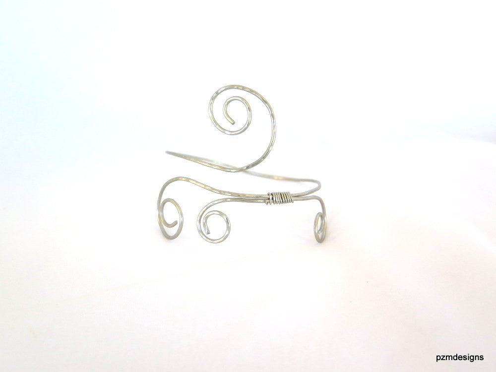 Silver Gypsy armlet, hammered above the elbow bracelet