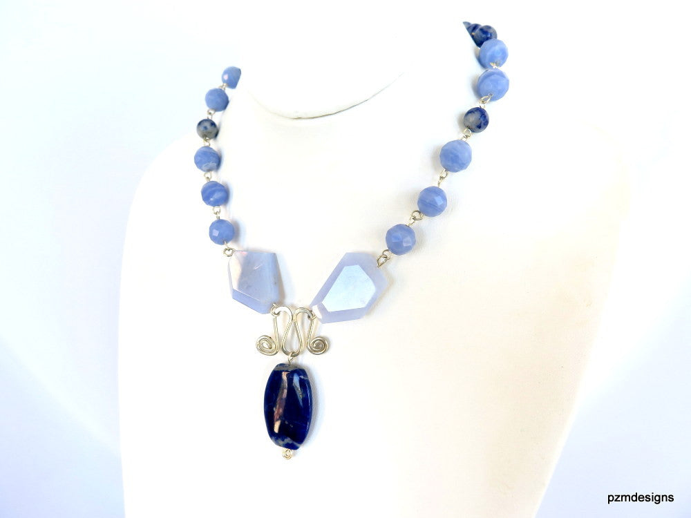 Blue Lace Agate Statement Necklace, Blue gemstone necklace - PZM Designs