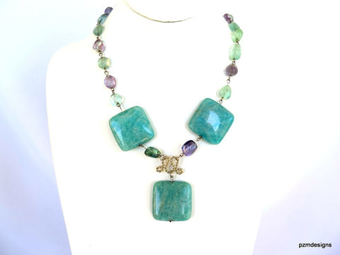 Amazonite and Fluorite Statement Handmade Necklace
