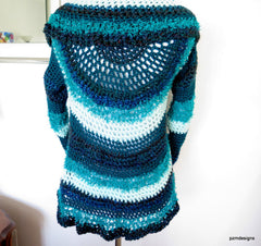 Blue Hand Crochet Circle Shrug, gift for her