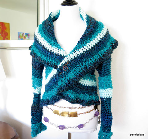 Blue Hand Crochet Circle Shrug