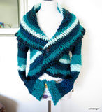 Blue Hand Crochet Circle Shrug - PZM Designs