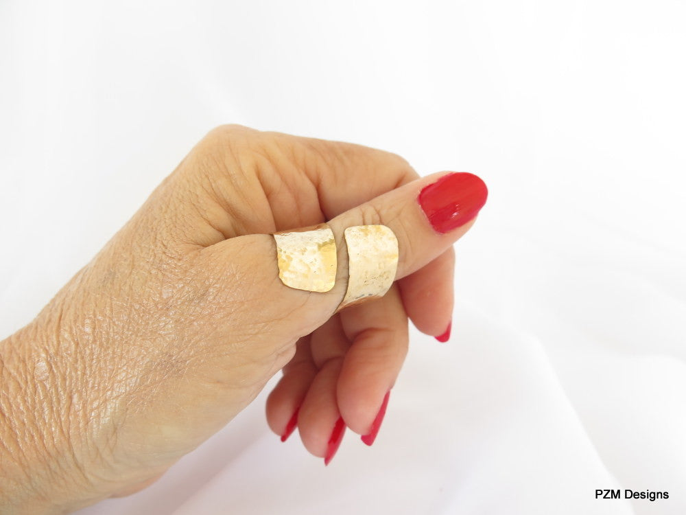 Gold thumb ring, hammered brass bypass ring, adjustable multi finger ring