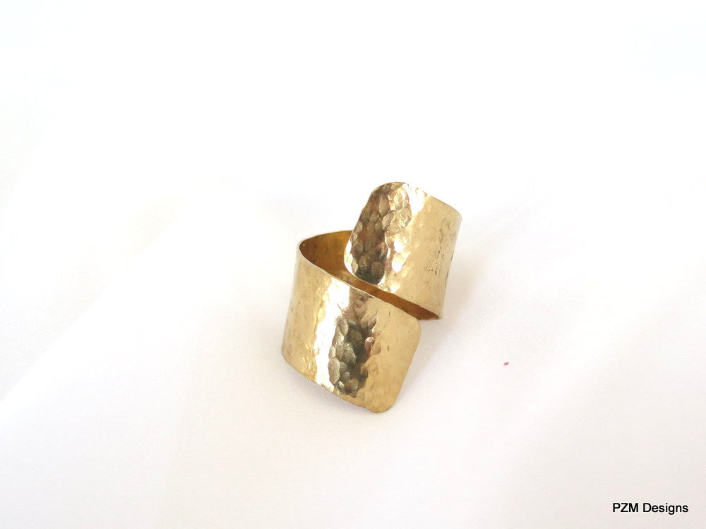 Gold thumb ring, hammered brass bypass ring, adjustable multi finger ring - PZM Designs