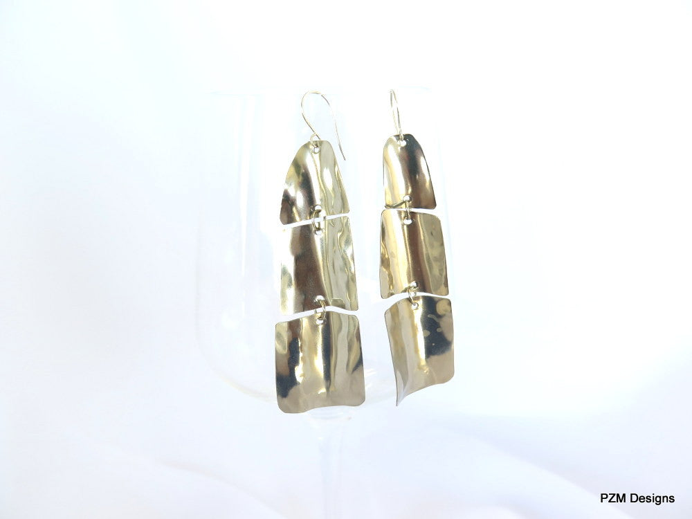 Long silver earrings, Hand formed boho chic dangle earrings - PZM Designs