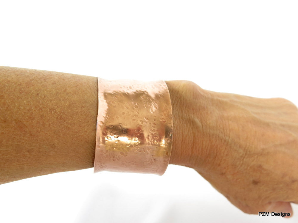 Hammered copper cuff, hand forged copper armband, modern tribal cuff bracelet - PZM Designs