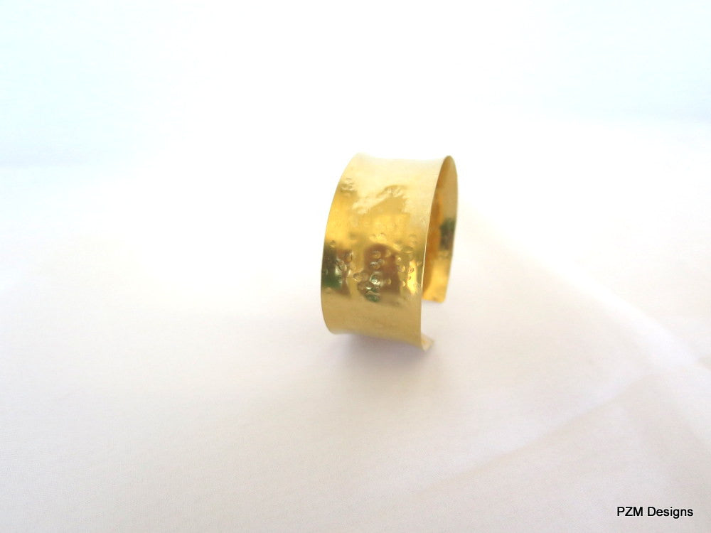 Gold Anticlastic Cuff with Hammered Texture - PZM Designs