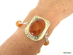 Carnelian artisan bracelet set in solid sterling silver - PZM Designs