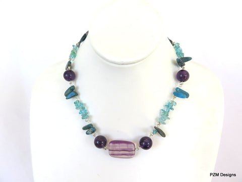 Apatite, amethyst and fluorite beaded necklace set in sterling silver