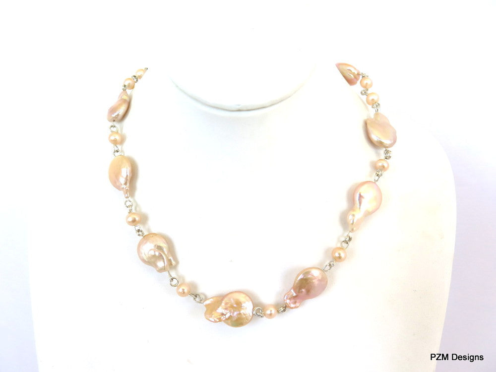 Peach baroque pearl strand, bridal jewelry - PZM Designs
