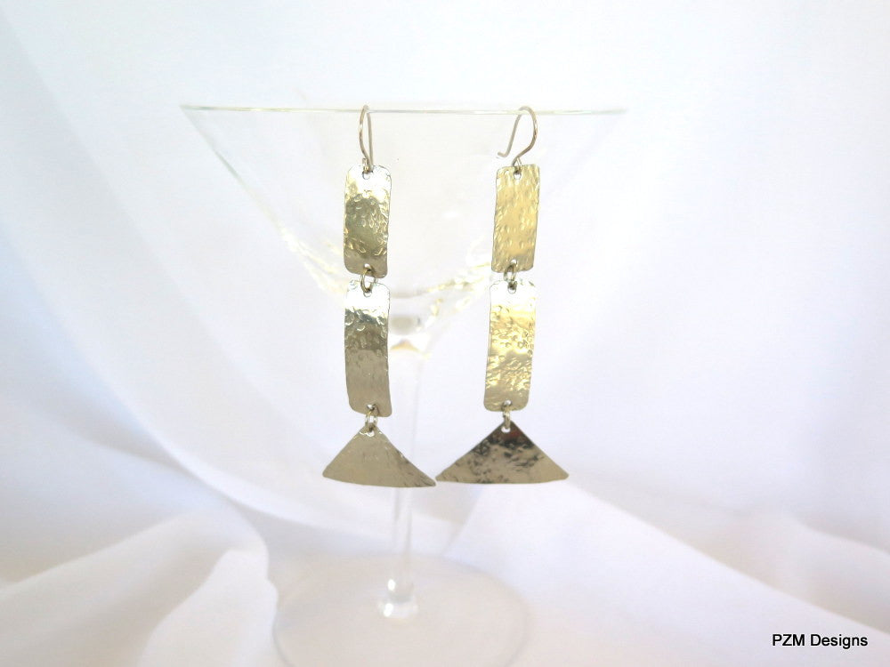Long minimalist earrings, hammered silver artisan crafted dangle earrings, gift under 40 - PZM Designs